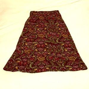 Vintage Velvety Floral Long A Line Skirt